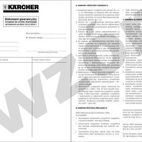 Wzór karty gwarancyjnej: urzadzenia domowe karcher